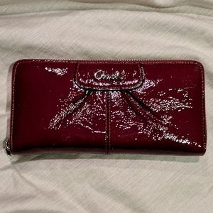 Coach burgandy wallet with zipper